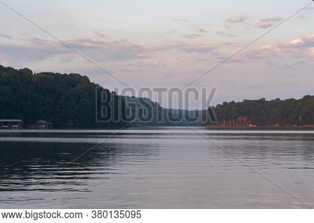 Landscape View Of Lake Lanier In Georgia At Dawn; Trees And Water