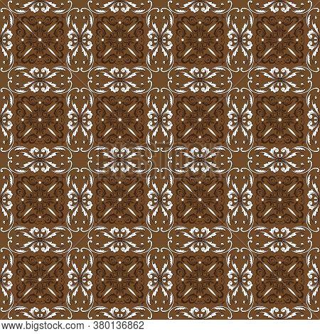 Vintage Flower Motifs On Parang Batik Design With Elegant Brown Color.
