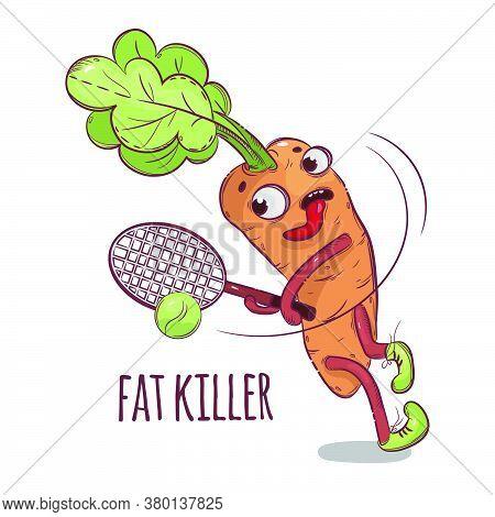 Carrot Fat Killer Cartoon Tennis Sport Vegetable Health Nutrition Paleo Keto Diet Botanic Hand Drawn