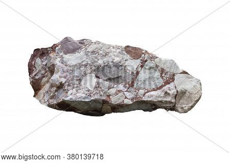 Conglomerate Stone Isolated On White Background With Clipping Path.