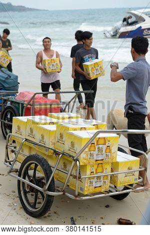 Koh Samet, Thailand March 29, 2016 - People Bringing Singha Beer To Koh Samet Island.