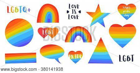 Rainbow Flag Set. Lgbt Gay And Lesbian Pride Symbols, Star, Heart. Icon Template. Modern Flat Vector