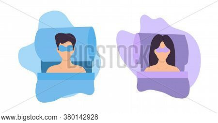 Young Woman Sleeping With A Night Face Mask In Bed On An Abstract Background. Vector Illustration Of