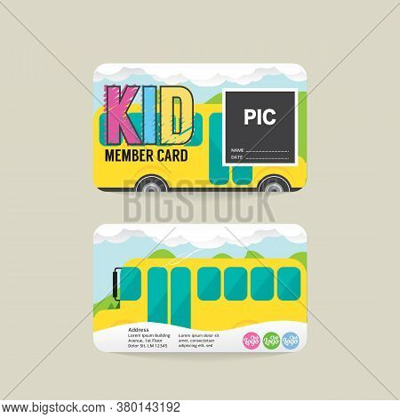 Font And Back Kids Member Card Template Vector Illustration. Eps 10