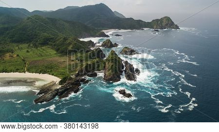 Amazing Lombok Island Mountain Coastline Aerial Drone View From Above. Near Selong Belanak, Mawi And