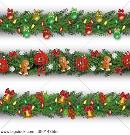 Set Of Three Christmas Garlands From Fir Or Pine And Decorated Vector Illustration Isolated.