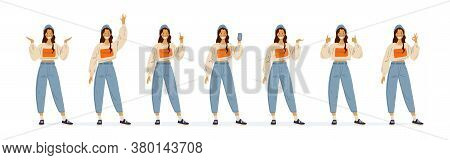 Teenage Girl In Fashionable Casual Clothes Smiles And Shows Gestures With Her Hands. Okay, Thumbs Up