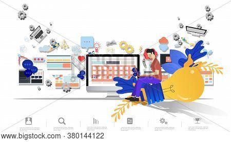 Business Man Think Analyze Creative Work,flat Design Illustration Creativity Modern Idea And Concept