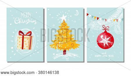 Set Of Modern Postcards In A Flat Style. Christmas Tree, Decorative Ball, Wrapped Gift. Merry Christ