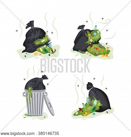 Black Garbage Bag Set With Dirty Green Garbage Spilling Out.