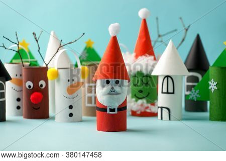 Decoration For Winter Season Home Party - Toys Made With Toilet Paper Roll. Handicraft Snowman, Conc