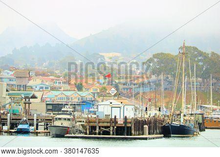 August 10, 2020 In Morro Bay, Ca:  Fog Blanketing The Harbor And Boardwalk Taken In Morro Bay, Ca Wh