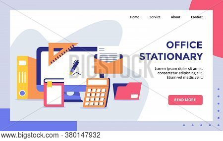 Office Stationary Computer Campaign For Web Website Home Homepage Landing Page Template Banner With