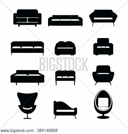 Bedroom And Living Room Furniture Icon Set - Bed, Couch, Soda And Arm Chair