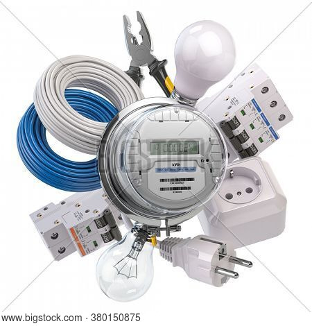 Electrical components and equipment isolated on white background. Electric meter, light bulb, circuit breaker, plug and cable. 3d illustration