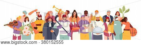 People Group Of Different Professions And Occupations. Labor Day. Vector Characters Collection