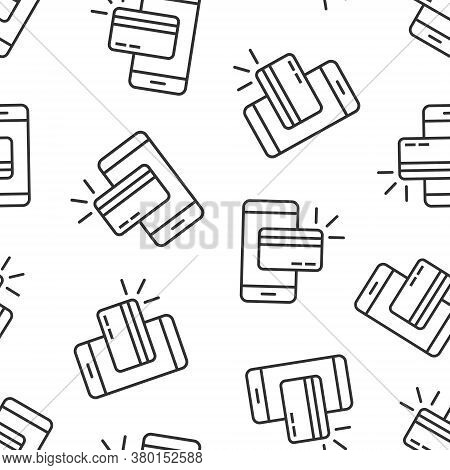 Smartphone Paying Icon In Flat Style. Nfc Credit Card Vector Illustration On White Isolated Backgrou