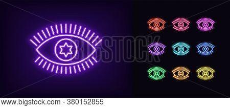 Neon Magic Eye Icon. Glowing Neon Eye Sign With Starry Iris, Spiritual Vision In Vivid Colors. Mysti