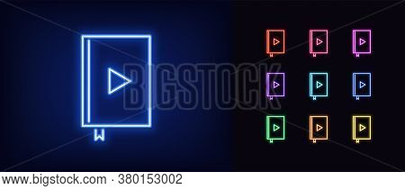 Neon Audiobook Icon. Glowing Neon Audio Book With Play Sign, Online Library In Vivid Colors. Interne
