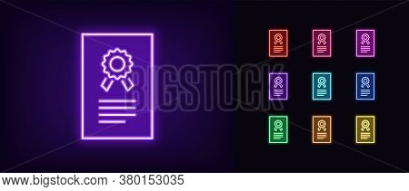 Neon Certificate Icon. Glowing Neon License Sign, Patent Document In Vivid Colors. Digital Certifica
