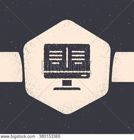 Grunge Online Book On Monitor Icon Isolated On Grey Background. Internet Education Concept, E-learni
