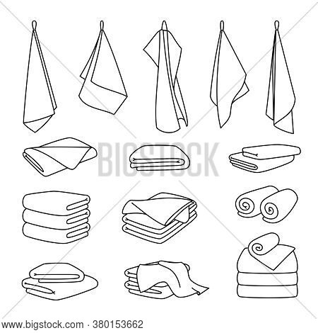 Hotel Bath Towel Icons. Stacked Textile Fabric, Fluffy Roll For Spa And Kitchen, Vector Illustration