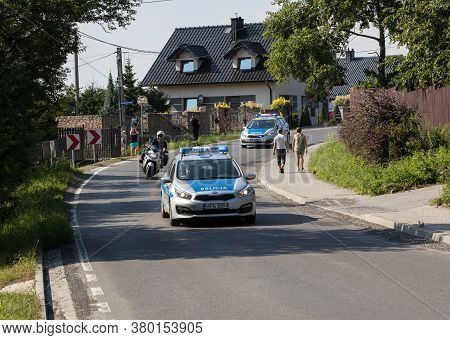 Cracow, Poland - August 4 , 2018: Police Car On Patrol With The Police Sign On Car Hood