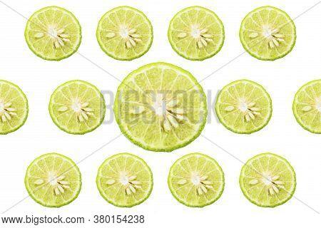 Group Of Sliced Bergamot Isolated On White Background,bergamot Slices Texture,concept Herbs