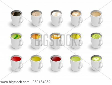 Realistic Vector 3d Cup Of Hot Beverage Set. Isometric Green, Black Lemon Tea , Mint, Herbal Chamomi