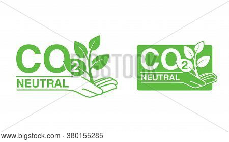 Co2 Neutral (zero Footprint) Stamp - Carbon Emissions Free Sign - Hand Holding Plant