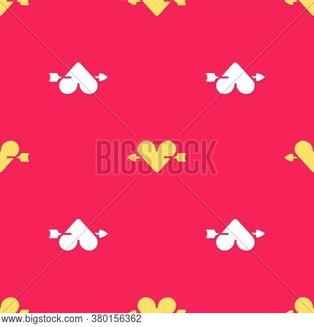 Yellow Amour Symbol With Heart And Arrow Icon Isolated Seamless Pattern On Red Background. Love Sign