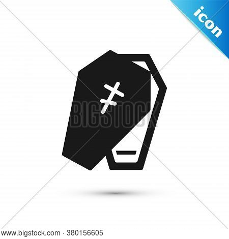 Grey Coffin With Christian Cross Icon Isolated On White Background. Happy Halloween Party. Vector