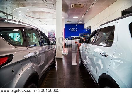 Kirov, Russia - May 07, 2019: Cars In Showroom Of Dealership Ford In Kirov