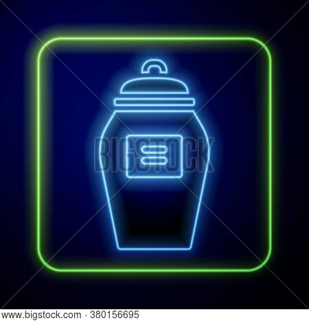 Glowing Neon Funeral Urn Icon Isolated On Blue Background. Cremation And Burial Containers, Columbar
