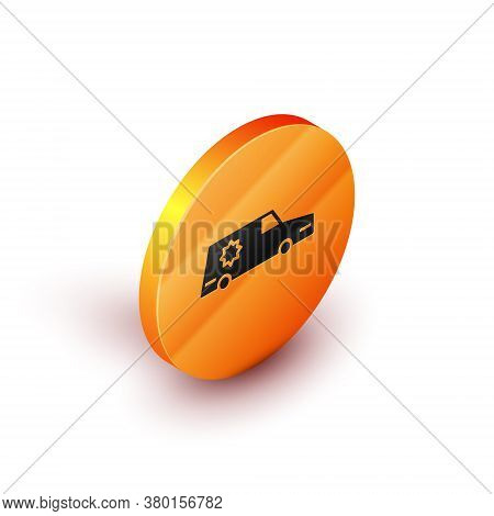 Isometric Hearse Car Icon Isolated On White Background. Orange Circle Button. Vector