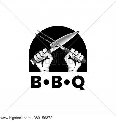 Two Hands With Crossed Knife And Fork. Vector Sign In Engrave Style. Barbeque Or Cooking Stock Vecto