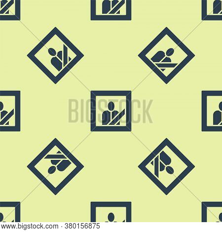 Blue Mourning Photo Frame With Black Ribbon Icon Isolated Seamless Pattern On Yellow Background. Fun