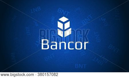 Vector Logo And Name Of The Digital Cryptocurrency Bancor Network Token (bnt) On A Blue Abstract Bac