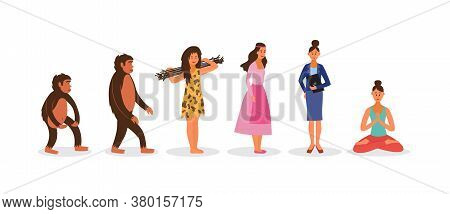 Female Human Evolution Chain From Monkey To Yoga And Meditation Lover.