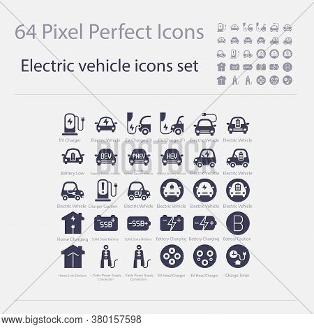 Battery Electric Vehicle Icon.(bev,ev).electric Car.charger Station.battery Power Plug.home Charging