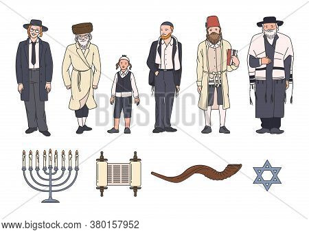Jewish People Clothing And Symbol Set With Shofar Horn And Star Of David