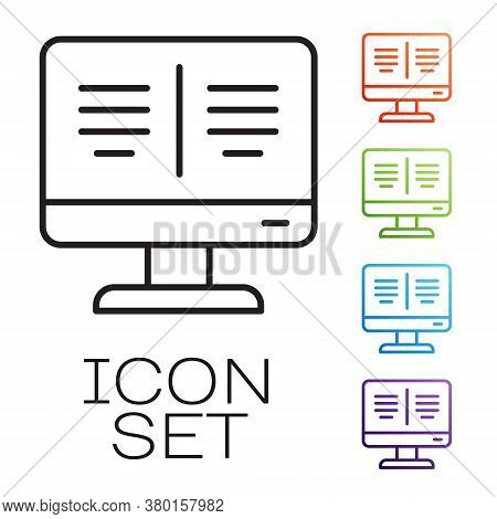 Black Line Online Book On Monitor Icon Isolated On White Background. Internet Education Concept, E-l
