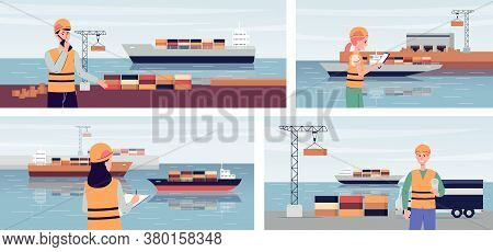 Export Ship Port Banner Set With People Managing Cargo Ship Transportations