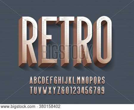 Retro Alphabet Font. 3d Vintage Letters And Numbers With Shadow. Vector Typescript For Your Typograp