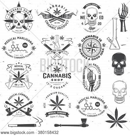 Set Of Medical Cannabis Badge, Label With Skull, Skeleton Hand, Smoking Marijuana. Vector. Vintage T