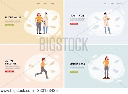 Female Nutritionist Banner Set - Cartoon Woman Helping Client With Weight Loss