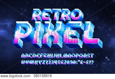 Retro Pixel Alphabet Font. Metallic Effect Letters And Numbers. Digital Pixel Background. 80s Arcade