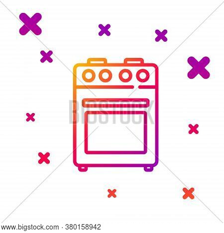 Color Line Oven Icon Isolated On White Background. Stove Gas Oven Sign. Gradient Random Dynamic Shap