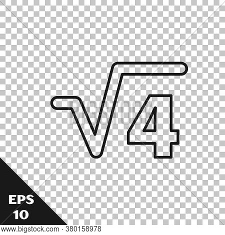 Black Line Square Root Of 4 Glyph Icon Isolated On Transparent Background. Mathematical Expression.
