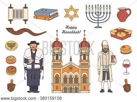 Jew Symbol Set - Traditional Jewish Food, Clothes And Religious Objects
